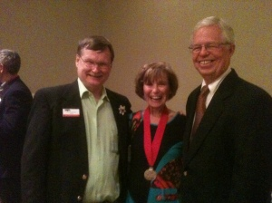 L to R: Chris Angerman, FPA President, Author Bette Lee Crosby, Richard F. Crosby, Presdient Bent Pine Publishing